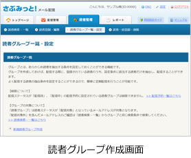 読者グループ作成画面